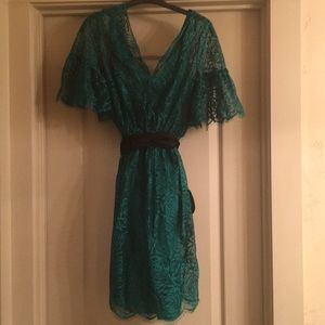 Robert Rodriguez green lace dress with tie